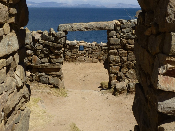 Chincana ruins on the Sun island, region of Titicaca