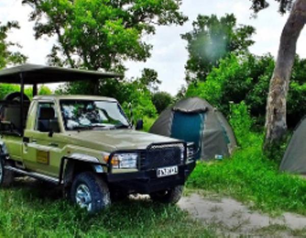 Camp mobile au Botswana.