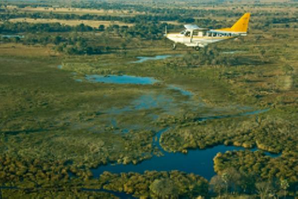 Delta de l'Okavango vu du ciel.