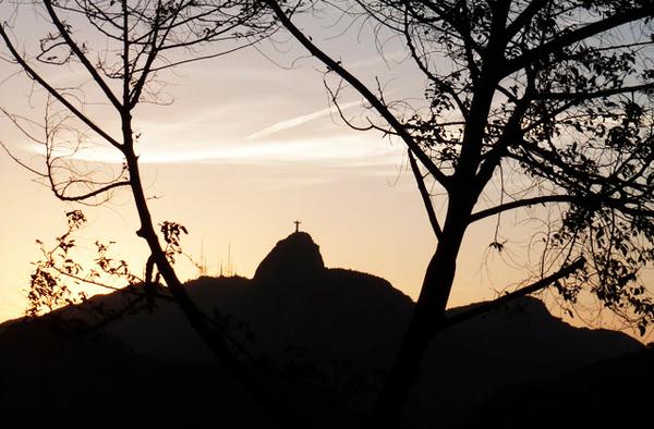 Coucher de soleil au Corcovado, Rio